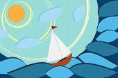 Sailboat in sea rounded, creative concept