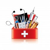 Medical Equipment Box Isolated On White Vector