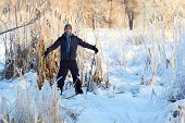 picture of nordic skiing  - Boy having a fun with cross country skiing at the sunny winter day - JPG