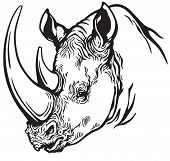 head of rhinoceros black and white
