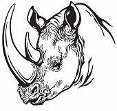 head of rhinoceros black and white