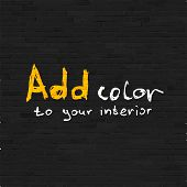 Add color to your interior phrase on black brick wall, relief texture
