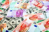 Dollars, Russian roubles and Euro background