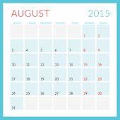 stock photo of monday  - Calendar 2015 vector flat design template - JPG