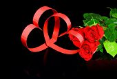 St. Valentine Day. Two Hearts, Red Roses.