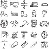 Black icons vector collection for rock climbing