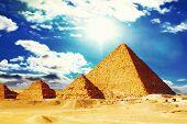 foto of the great pyramids  - Panorama of Great Pyramid located at Giza  - JPG