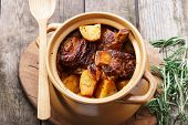 image of baked potato  - meat and potatoes baked in a pot - JPG