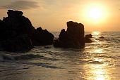 Praia durante o pôr-do-sol, Puerto Escondido, México
