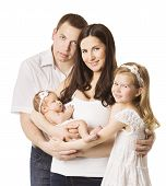 Family Portrait With Kids, Young Mother Father Daughter New Born Baby, Four Persons, Happy Children