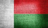 Madagascar flag on burlap fabric