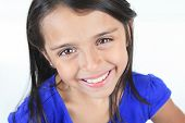 picture of sissy  - Columbian Little Girl Fun Look in front of a white background - JPG