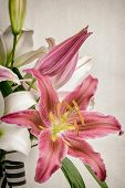 Lily Bouquet With Ribbon
