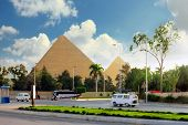 pic of the great pyramids  - Ancient Great Pyramids and present day of Giza townsuburb of Cairo city. Egypt. ** Note: Visible grain at 100%, best at smaller sizes - JPG