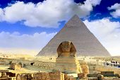 Great Pyramid Of Pharaoh Khufu, And The Sphinx.