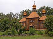 Old  Wooden Church In The Ukrainian Village.