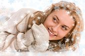 Portrait Of Happy Woman In Sweater And Mitten With Snowflakes