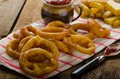 Onion Rings, Hot Dip, French Fries And Czech Beer