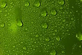 Abstract Water Drops Background. Green Colour Wallpaper