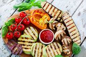 foto of pepper  - grilled vegetables eggplant zucchini mushrooms pepper tomato - JPG