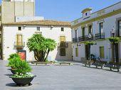 Small Square In  Calella. Spain.