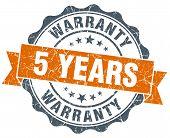 5 Years Warranty Orange Vintage Seal Isolated On White