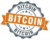 Bitcoin Orange Vintage Seal Isolated On White