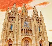 stock photo of sacred heart jesus  - Temple on top of Mount Tibidabo the Temple of the Sacred Heart - JPG