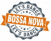 Bossa Nova Orange Vintage Seal Isolated On White
