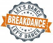 Breakdance Orange Vintage Seal Isolated On White