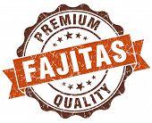 Fajitas Brown Vintage Seal Isolated On White