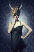picture of bunny costume  - Carnival charming funny sexy woman in black bunny costume wild red hair nice make up - JPG