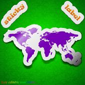 World Map Icon Sign. Symbol Chic Colored Sticky Label On Green Background. Vector