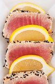 Tuna Steak With Sesame Seeds.