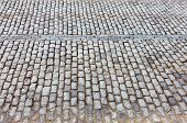 Urban Road Is Paved With Blocks Of Stone, Cobblestone Walkway