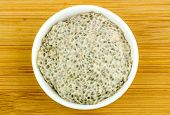Aerial Of Healthy Chia Seed Porridge In Bowl On Wooden Background