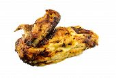 pic of spit-roast  - Gourmet roasted chicken breast isolated on white - JPG