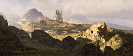 stock photo of fantasy landscape  - A distance medieval castle among the Scottish mountain Highlands - JPG