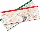 pic of boarding pass  - Vector image of airline boarding pass ticket with QR2 code - JPG