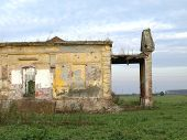 stock photo of raunchy  - Demolished and destroyed the old abandoned castle - JPG