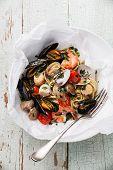 stock photo of scallops  - Seafood pasta  - JPG