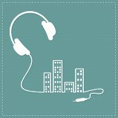 pic of cord  - Headphones cord equalizer building house with swith on light windows Music background card - JPG