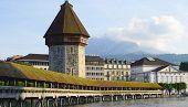 foto of chapels  - View of historical wooden Chapel Bridge in Lucerne Switzerland - JPG