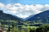 stock photo of snow capped mountains  - Landscape in Graubunden Switzerland - JPG