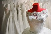foto of dress mannequin  - Beautiful wedding dress on a mannequin at an wedding fair
