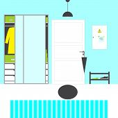 stock photo of door-handle  - Hall interior with paneled door with grey handle and umbrella on it oval mat blue walls and white floor with blue stripped carpet grey lamp big closet with mirror doors and drawers boxes coat shelving with shoes switch box with notes on magnets - JPG