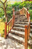 picture of staircases  - asian tropical garden with traditional staircase - JPG