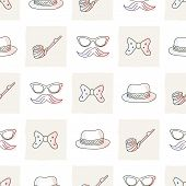 pic of tobacco-pipe  - Hipster vector seamless pattern with ties and glasses - JPG