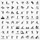 stock photo of winter sport  - Large set of vector sports symbols including all the major winter and summer sports - JPG