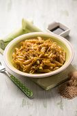 stock photo of leek  - oriental pasta with leek seed sesame ginger and soy sauce - JPG